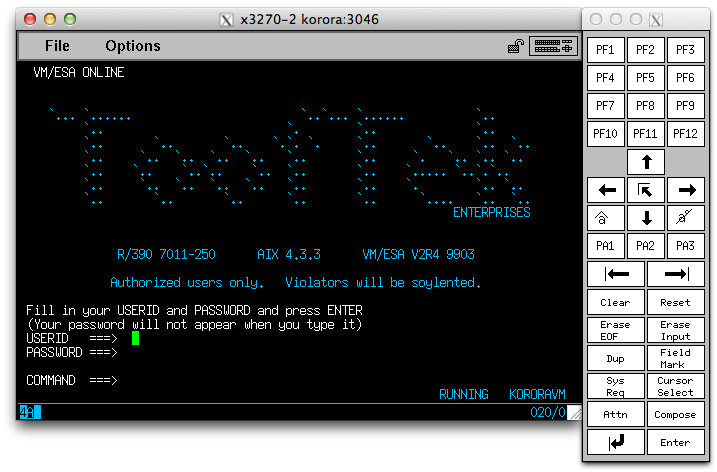 Screenshot of VM/ESA logon screen